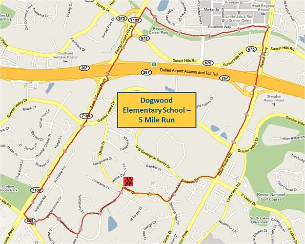 Dogwood Elementary School 5 Mile Run Map