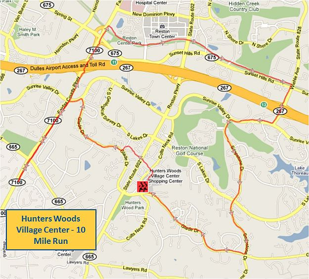 Hunters Woods Village Center 10 Mile Run Map