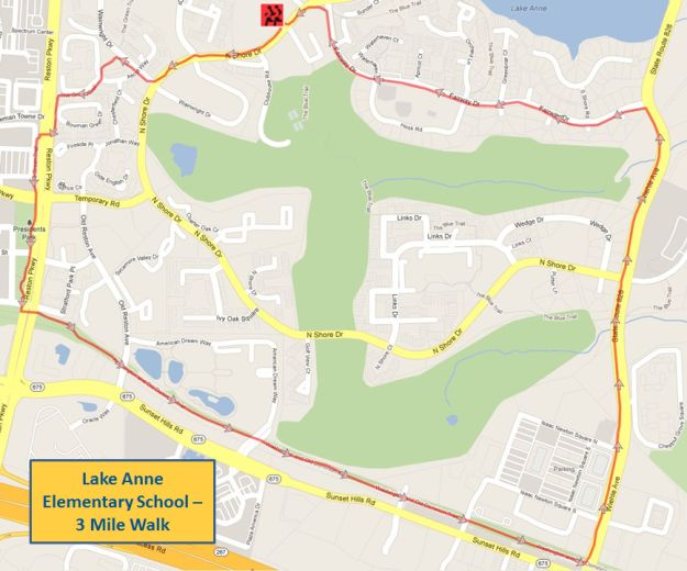 Lake Anne Elementary School 3 Mile Walk Map