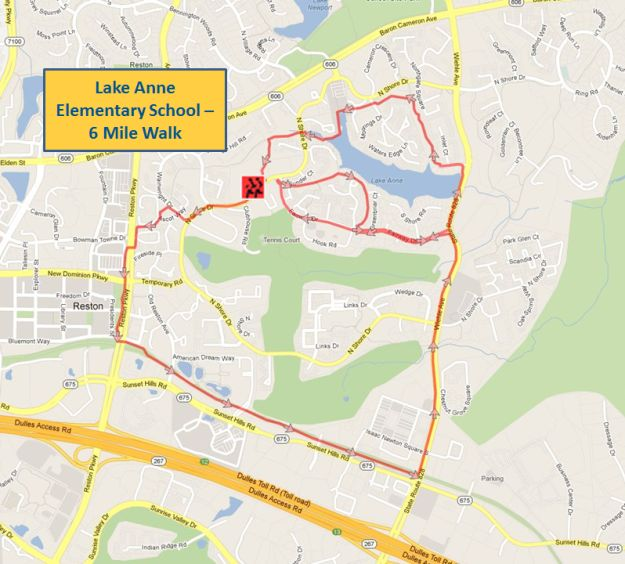 Lake Anne Elementary School 6 Mile Walk Map