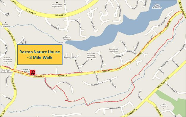 Reston Nature House 3 Mile Walk Map