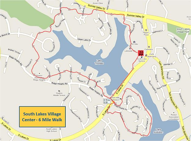 South Lakes Village Center 6 Mile Walk Map