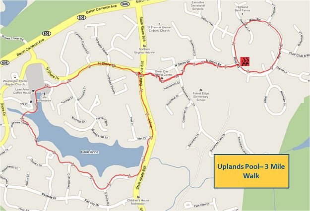 Uplands Pool 3 Mile Walk Map